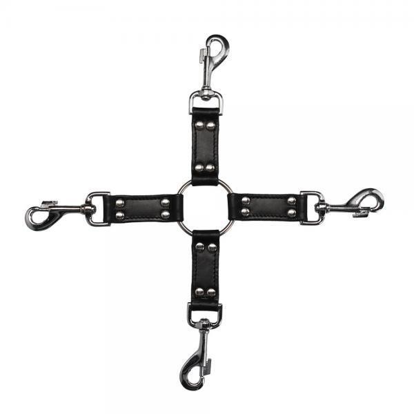 4-Way Black Leather Hogtie Cross
